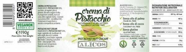 Alicos Prodotti Tipici Siciliani Crema di Pistacchio vegana 190g curve rev.190721