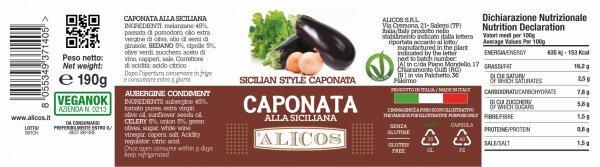 Alicos Sicilian Produits typiques Caponata sicilienne 190g courbes rev.130721