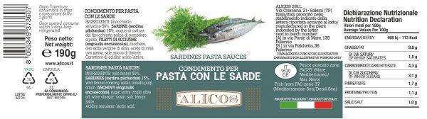 Alicos Prodotti Tipici Siciliani condimento pasta sarde 190g curve rev.130721