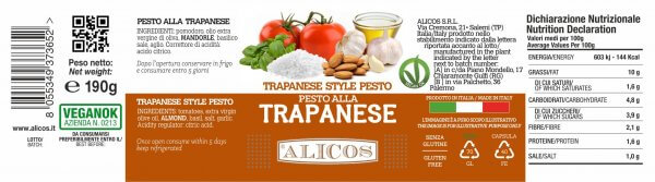 Alicos Prodotti Tipici Siciliani pesto alla trapanese 190g curve rev.130721
