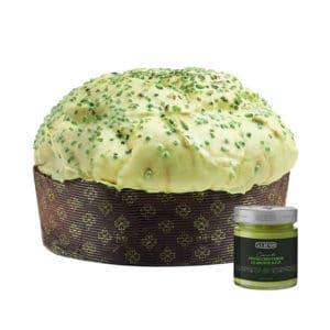 panettone artigianale al pistacchio con crema al pistacchio verde di bronte dop